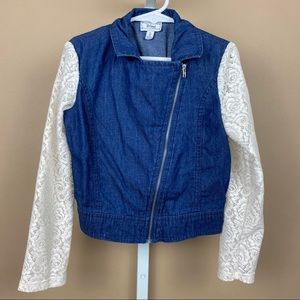 Girls DISNEY Jean Jacket Lace Sleeves